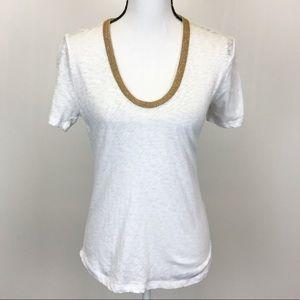 J. Crew White Gold Metallic Trim Scoopneck Shirt